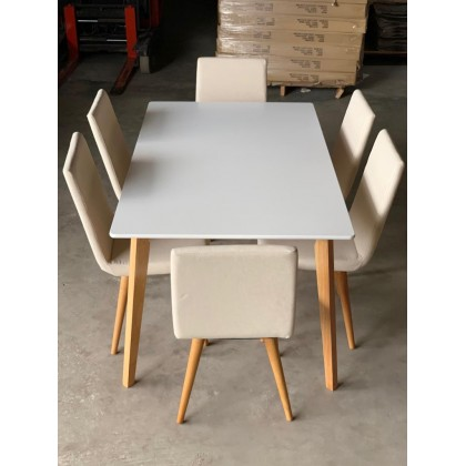 [1+6] SCANDINAVIAN UPHOLSTERED DINING ROOM SET