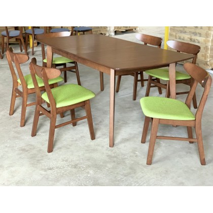 [EXT-1+6] GF RETRO EXTENSION TABLE DINING ROOM SET