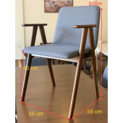 [1 + 4+BEN ]GF LUX ARM CHAIR SOLID WOOD DINING SET