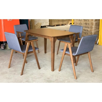 [1 + 4]GF LUX ARM CHAIR SOLID WOOD DINING SET WITH 120CM/4FT DINING TABLE